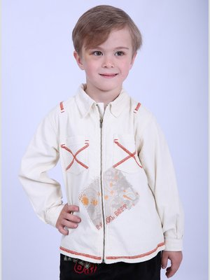Рубашка молочного цвета в принт | 2695929