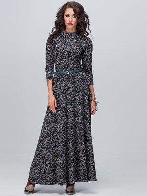 Платье темно-синее в принт | 2703946