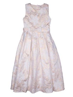 Платье бело-золотистого цвета в цветочный принт | 2732997