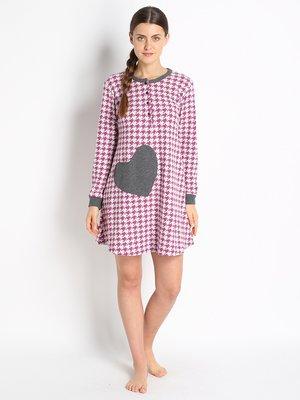 Рубашка ночная розовая в принт | 2741800