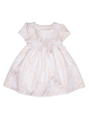 Платье бело-золотистого цвета в цветочный принт | 2732996