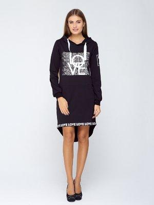 Сукня чорна з принтом | 2755532