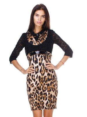 Платье черно-бежевое с анималистичным принтом | 2768158