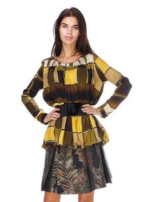 Блуза горчичного цвета в принт | 2768148