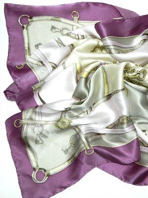 Платок серо-фиолетовый в принт | 2669136