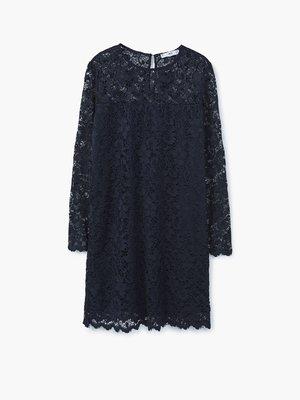 Платье темно-синее ажурное | 2722923