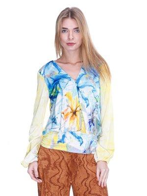 Блуза желто-голубая с принтом | 2770204