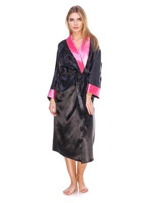 Халат чорний з рожевим оздобленням | 2770129