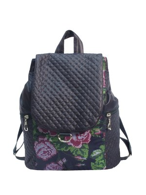 Рюкзак темно-синий с цветочным принтом | 2782238