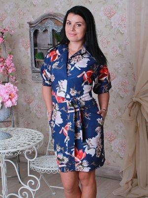 Платье синее в цветочный принт | 2782996