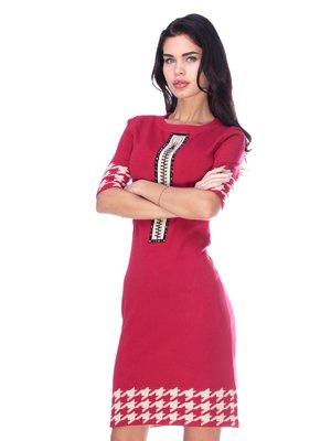 Платье красное в гусиную лапку | 2786981
