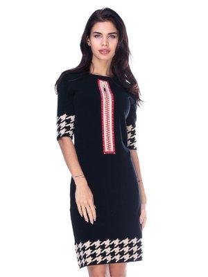 Платье черное в гусиную лапку | 2786980