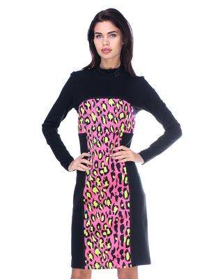 Сукня чорно-рожева з принтом | 2787020