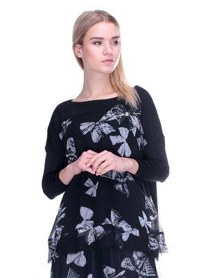 Блуза черная в принт | 2787034