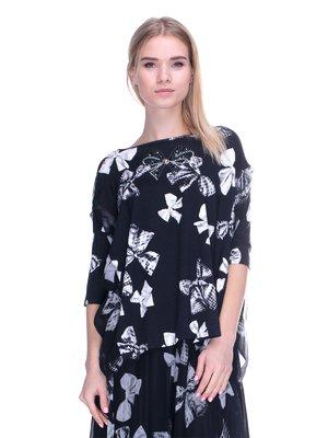Блуза чорна в принт | 2787031