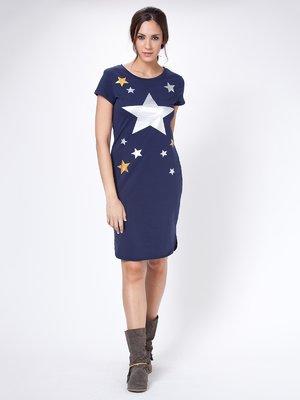 Платье синее в принт | 2598851