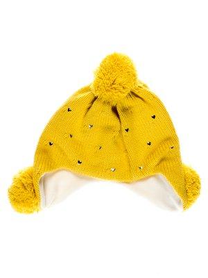 Шапка желтая с декором | 2821160