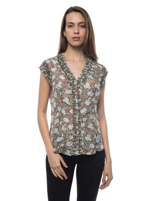Блуза коричневая с принтом | 2716368