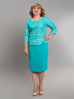 Платье бирюзовое с рисунком | 2843796