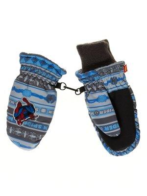 Варежки серо-голубые с принтом   2849023