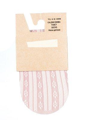 Носки светло-розовые с полоску и принт   2857413