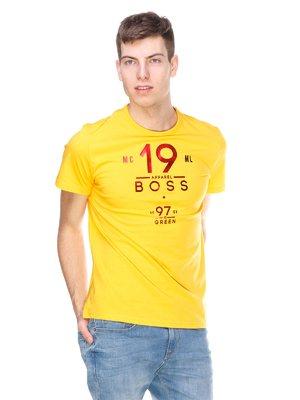 Футболка жовта з принтом | 2146869