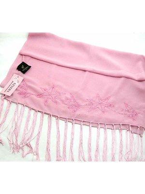 Шаль розовая с  декором | 2149476