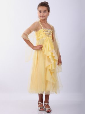 Платье желтое с шалью   2091485