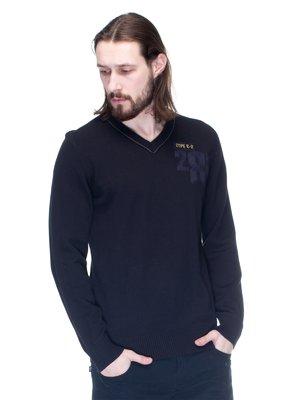 Пуловер черный с рисунком | 1353574