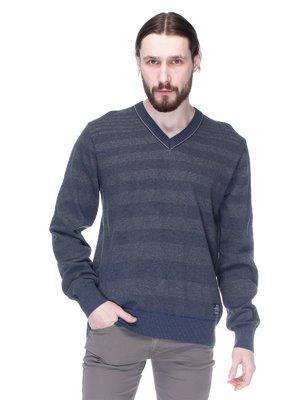Пуловер серо-синий в полоску | 1353609