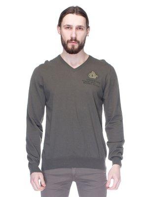 Пуловер цвета хаки с вышивкой и надписями | 1353608