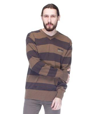 Пуловер двухцветный в полоску | 1353621