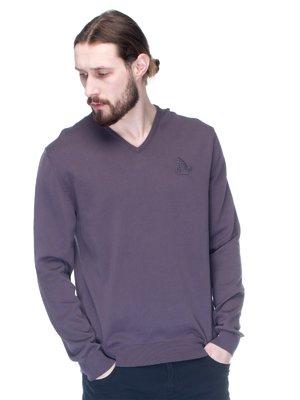 Пуловер серый с вышивкой | 1353625