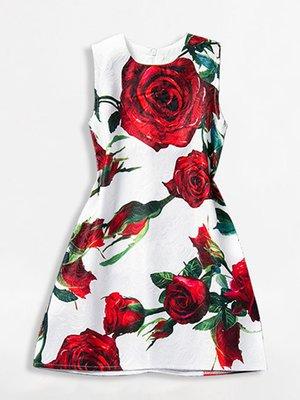 Платье белое в цветочный принт | 2918068