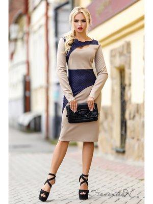 Платье бежево-синее | 2171973
