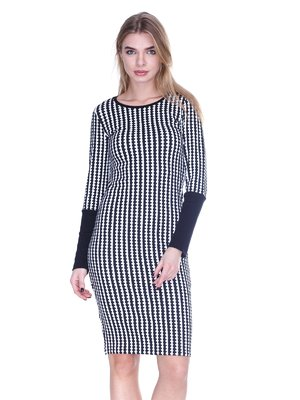 Сукня чорно-біла в принт | 1443413