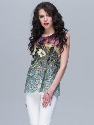 Блуза в разноцветный принт | 2925424