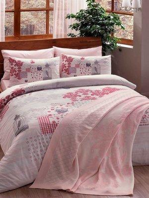 Комплект постельного белья двуспальный (евро) с пледом | 2924552