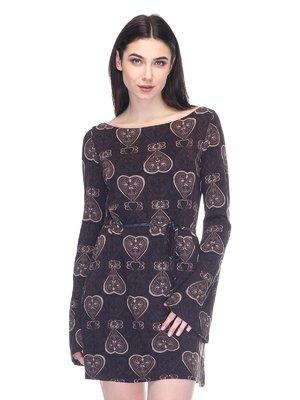 Сукня чорна в принт | 2932215