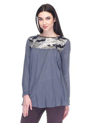 Блуза серая с пайетками | 2932240