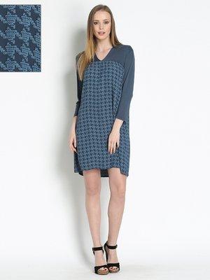 Платье синее в гусиную лапку | 2941716