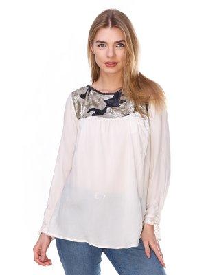 Блуза белая с пайетками | 2932237