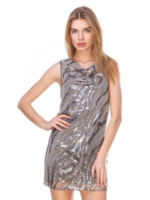 Сукня сіро-срібляста з паєтками | 2932284