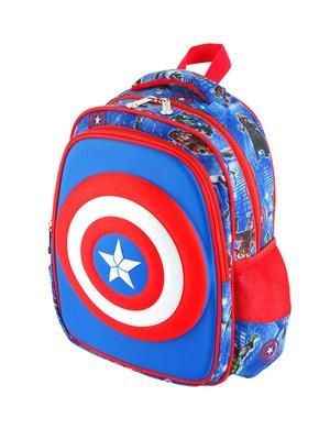 Рюкзак синьо-червоний в принт | 2942451
