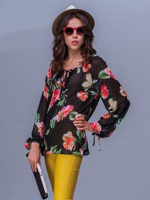 Блуза чорна в квітковий принт | 1282307