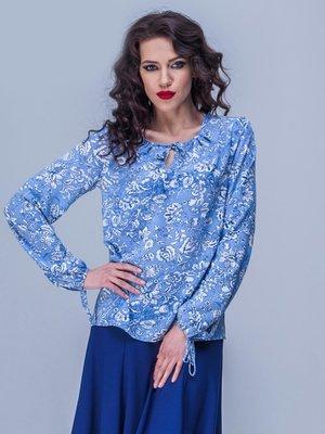 Блуза голубая в цветочный принт | 1752533
