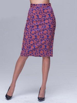 Спідниця синьо-помаранчева в квітковий візерунок | 1981081
