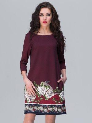 Платье бордовое с цветочным принтом | 2945762