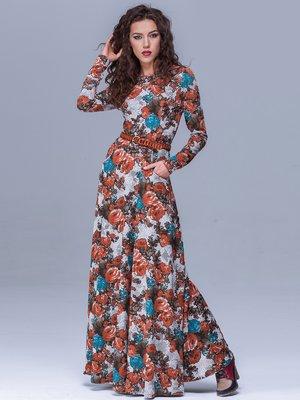 Платье серое в цветочный принт | 1409726