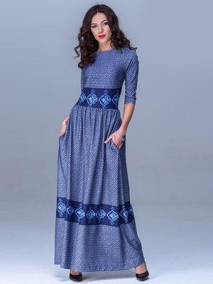 Платье синее в узор   1502932